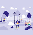 people in park with chairs and lamps vector image