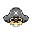 pirates skull head with pirates hat for vector image vector image