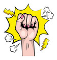 pop art hand clenched cartoon vector image vector image