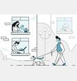 quarantine cartoon line background with people vector image