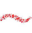 red hearts banner for valentines day on white vector image