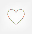 retro heart made from color circles vector image