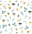 seamless pattern with mushrooms holly and berries vector image vector image