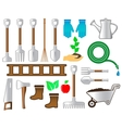 set colorful tools for gardening landscaping vector image vector image