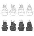 set with a birthday cake vector image