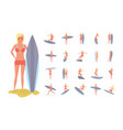 surfer set in various poses situations summer vector image vector image