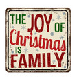 the joy of christmas is family vintage rusty vector image vector image