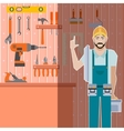 Tool shed with worker vector image