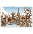 Vintage View of Fish Market Canal in Gouda vector image vector image