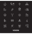 vision editable line icons set on black vector image vector image