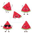 watermelon slice character with funny face vector image vector image