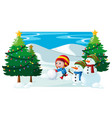 winter scene with boy and snowman vector image vector image