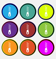 Zipper Icon sign Nine multi colored round buttons vector image vector image