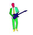 rock musician man character playing guitar vector image