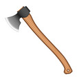 a huge ax with a comfortable wooden handle and a vector image