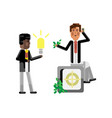 african businessman holding idea light bulb vector image vector image