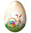 An easter bunny with easter eggs vector image vector image
