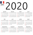 calendar 2020 french sunday vector image vector image