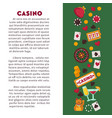 casino club gambling play card games roulette and vector image vector image