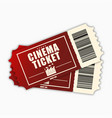 cinema ticket template of red realistic movie vector image vector image
