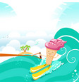 cute ice cream character waterskiing with joy vector image vector image