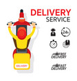 delivery boy ride scooter motorcycle vector image vector image