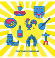 discover portugal concept banner with icons in vector image