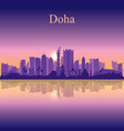 doha city silhouette on sunset background vector image vector image