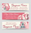 eiffel tower and roses paris banners vector image vector image