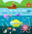 flat style underwater life with fisherman vector image