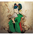 geisha on grunge background vector image vector image