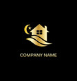 gold house night sleep logo vector image