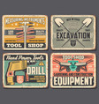 home repair and construction work tools shop vector image vector image