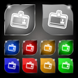 Id card icon sign Set of ten colorful buttons with