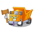 judge character truck dump on trash construction vector image