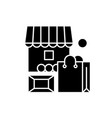 local market black icon sign on isolated vector image vector image
