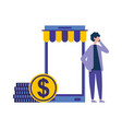 man using smartphone coin money online shopping vector image