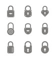 monochrome set with lock icons vector image