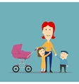 mother with kids having fun walking outdoor vector image