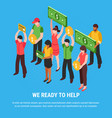 people ready for help isometric poster vector image vector image