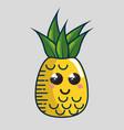 pineapple fresh fruit character handmade drawn vector image