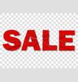 sale banner emblem on red background for business vector image vector image