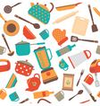 Seamless pattern of kitchen utensils Home vector image vector image