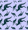 seamless pattern with jumping kangaroo vector image vector image