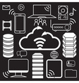 servers data center and network elements icons vector image