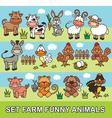 set farm funny animals vector image vector image