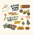 set icons deforestation and tree cutting theme vector image vector image