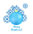 set of christmas blue ball and snowflakes merry vector image