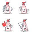 set of cleaner character with mechanic foam finger vector image
