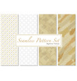 set seamless patterns in gold and white vector image vector image